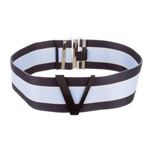 Versace Logo Striped Blue Woven Belt